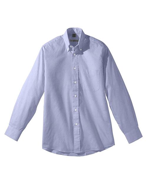 Edwards 1975 Men Long Sleeve Pinpoint Oxford Shirt blue at bigntallapparel