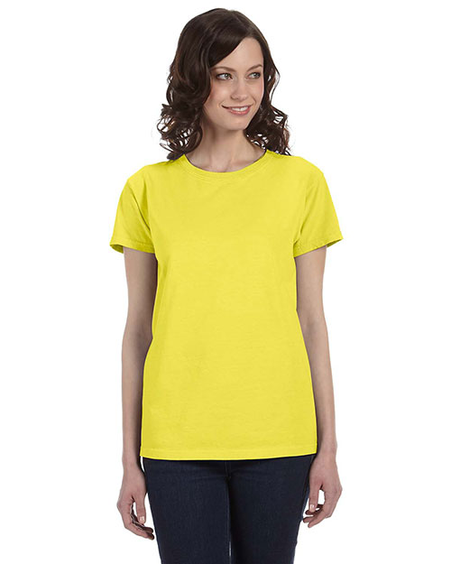 Authentic Pigment 1977 Women 5.6 Oz. Pigment-Dyed & Direct-Dyed Ringspun T-Shirt Neon Yellow at bigntallapparel