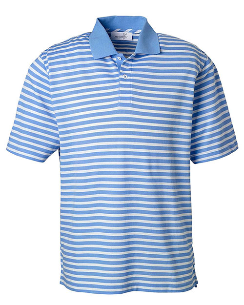 Ashworth 2048 Men Dual Tone Pique Stripe Polo blue at bigntallapparel