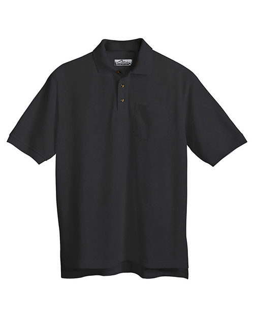 Tri-Mountain 206 Men Stain Resistant Pique Pocketed Polo Golf Shirt Black at bigntallapparel