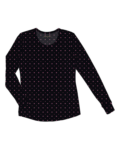 Heartsoul 20801 Women Long Sleeve Round Neck Tee Heart To Be Apart at bigntallapparel