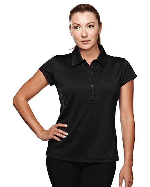 Tri-Mountain 221 Women Poly Ultracool Golf Shirt Black at bigntallapparel