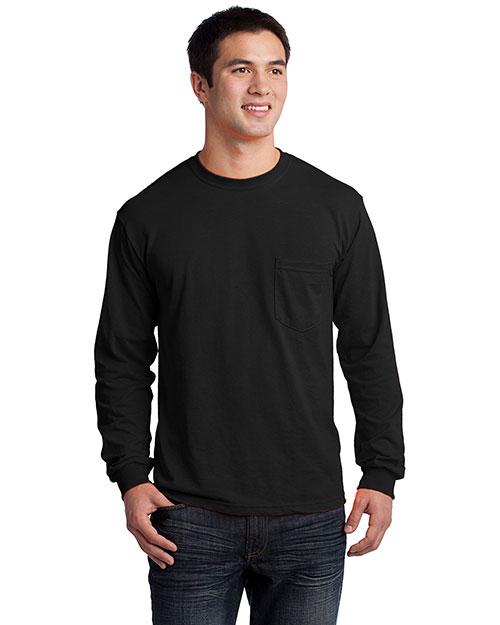 Gildan 2410 Men Ultra 100% Cotton Long Sleeve T-Shirt With Pocket Black at bigntallapparel