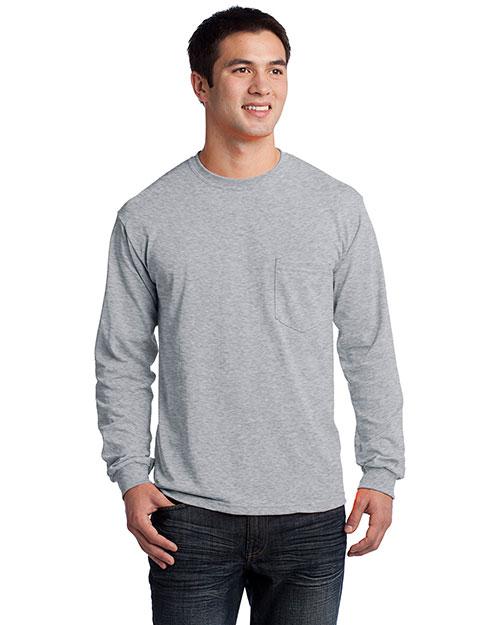 Gildan 2410 Men Ultra 100% Cotton Long Sleeve T-Shirt With Pocket Sport Grey at bigntallapparel