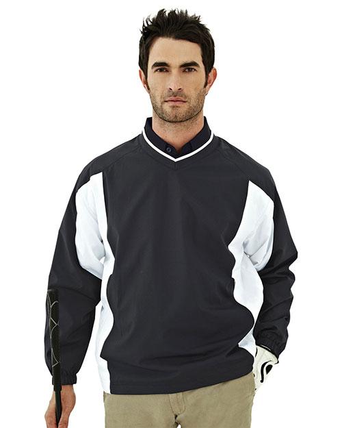 Tri-Mountain 2550 Men 100% Polyester  Micro V Neck Long Sleeve Wind Shirt Black at bigntallapparel