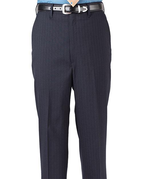 Edwards 2560 Men Pinstripe Flat Front Pant Navy at bigntallapparel