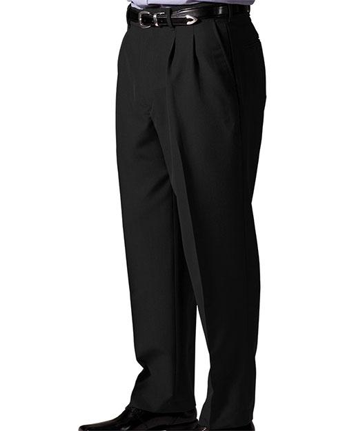Edwards 2650 Men Lightweight Wool Blend Pleated Pant Black at bigntallapparel