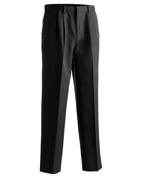 Edwards 2674 Men Microfiber Pleated Pant Black at bigntallapparel