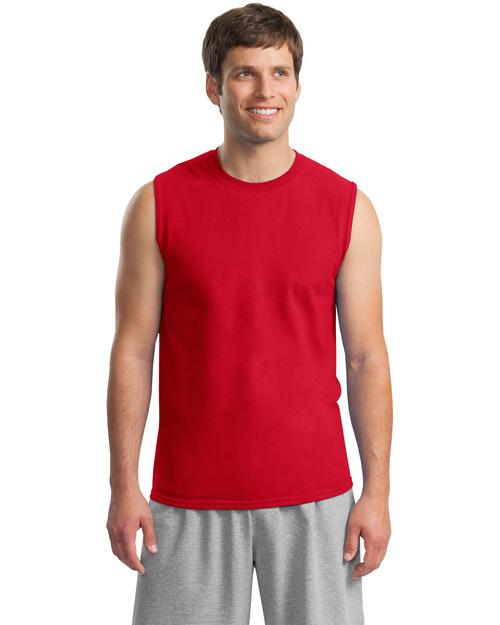 Gildan 2700 Men Ultra Cotton Sleeveless T Shirt Red at bigntallapparel