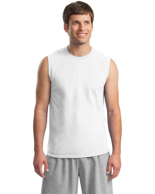 Gildan 2700 Men Ultra Cotton Sleeveless T Shirt White at bigntallapparel