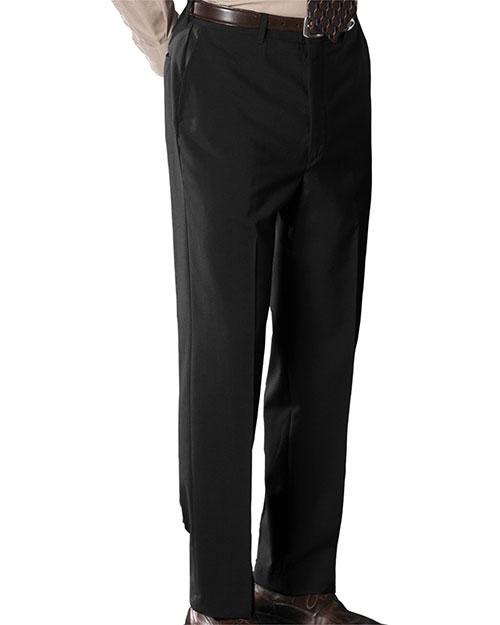 Edwards 2780 Men Wool Blend Flat Front Dress Pant Black at bigntallapparel