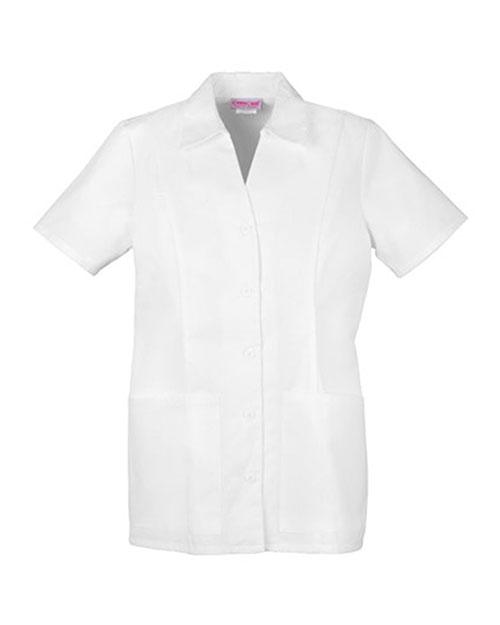 Cherokee 2879 Women Button Front Top White at bigntallapparel