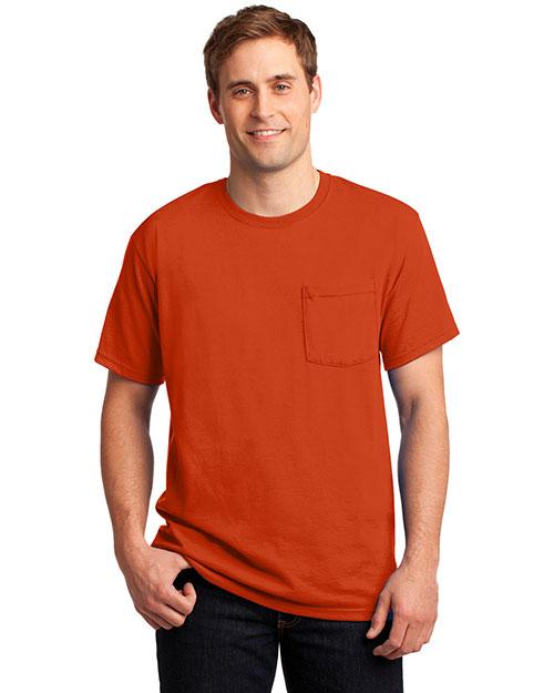 Jerzees 29MP Men  50/50 Cotton/Poly Pocket T Shirt Burnt Orange at bigntallapparel