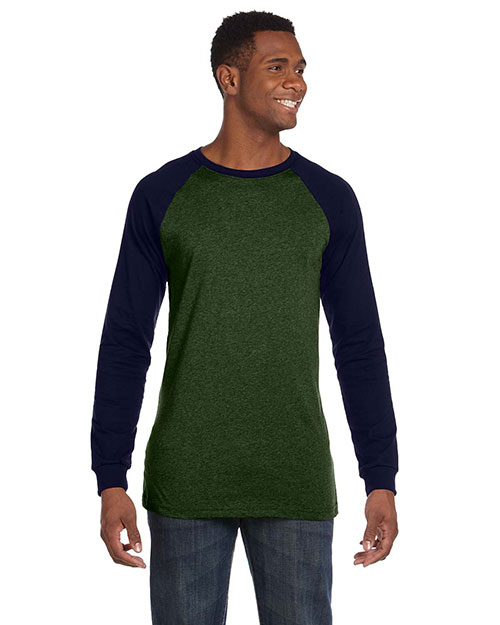 Canvas 3000C Men 4.2 Oz. Hawthorne Baseball T-Shirt Olive/Navy at bigntallapparel