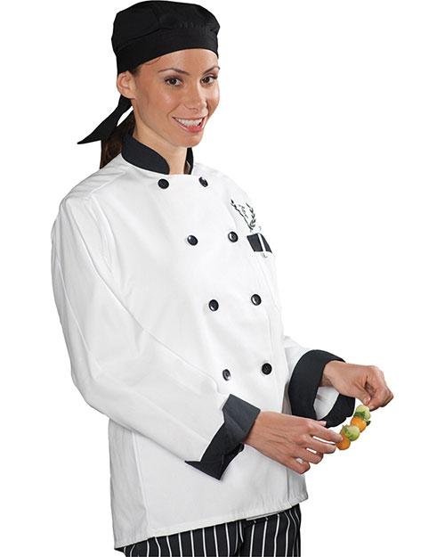 Edwards 3303 Women Classic 10 Black Button Chef Coat With  Trim White at bigntallapparel