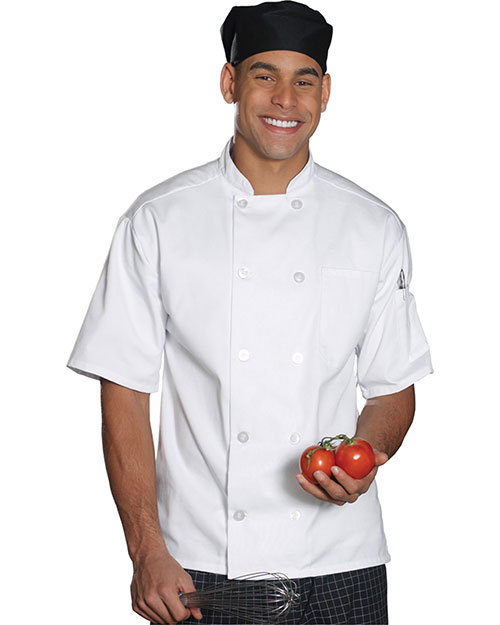 Edwards 3306 Men Casual 10 Button Short Sleeve Chef Coat White at bigntallapparel