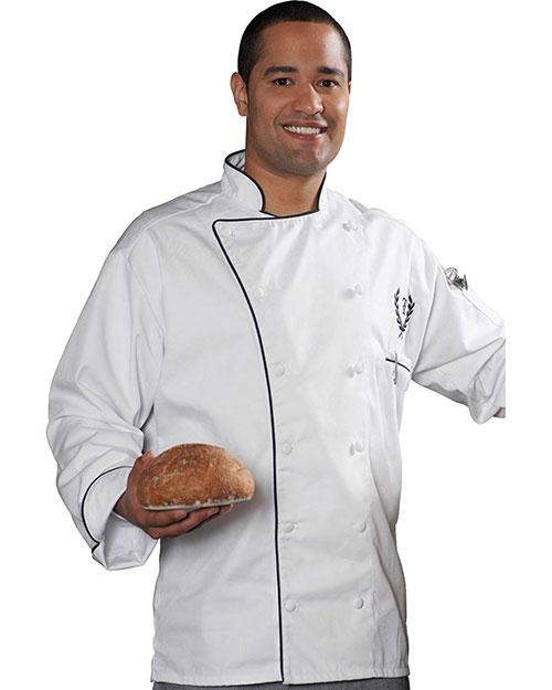 Edwards 3308 Men Executive 12 Cloth Button Chef Coat W/Black Trim White at bigntallapparel