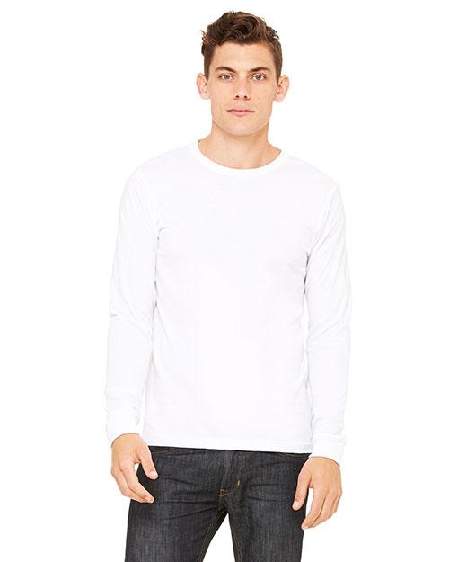 Bella 3501U Men Made In The Usa Jersey Long-Sleeve T-Shirt White at bigntallapparel