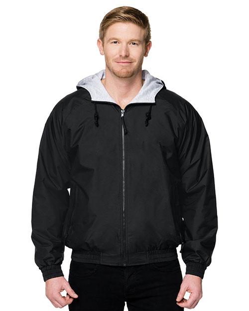 Tri-Mountain 3600 Men Nylon Hooded Jacket With Jersey Lining Black at bigntallapparel