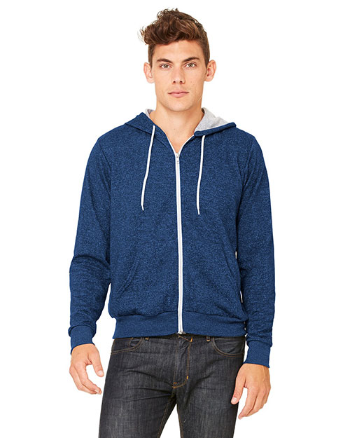 Bella 3739 Men  Poly-Cotton Fleece Full-Zip Hoodie Digital Blue at bigntallapparel