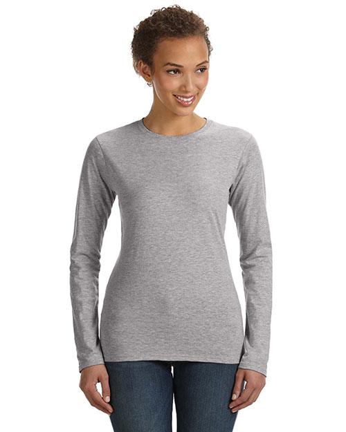 Anvil 374L Women Fit Ringspun Long-Sleeve T-Shirt Heather Grey at bigntallapparel