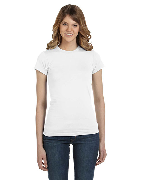 Anvil 379 Women Semi-Sheer Crewneck T-Shirt White at bigntallapparel