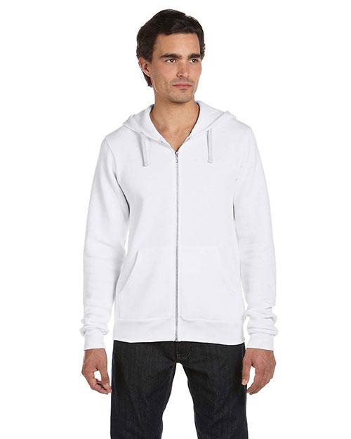 Canvas 3909 Men  8.2 Oz. Triblend Sponge Fleece Full-Zip Hoodie Solid White Trblnd at bigntallapparel