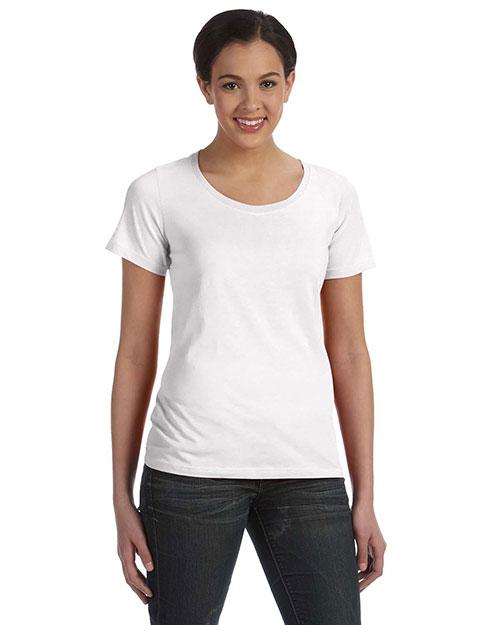 Anvil 391A Women Sheer Scoop Neck T-Shirt White at bigntallapparel