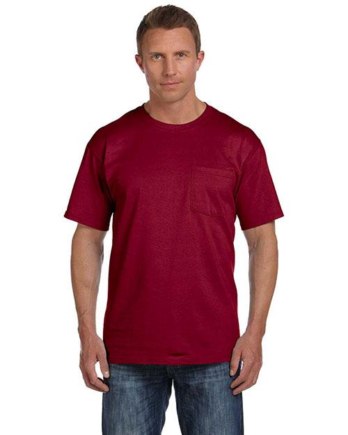 Fruit Of The Loom 3931P Men  5.4 Oz. Heavy Cotton Pocket T-Shirt Maroon at bigntallapparel
