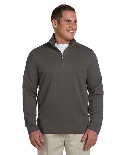 Ashworth 4019 Men French Terry Half-Zip Pullover Dark Grey at bigntallapparel
