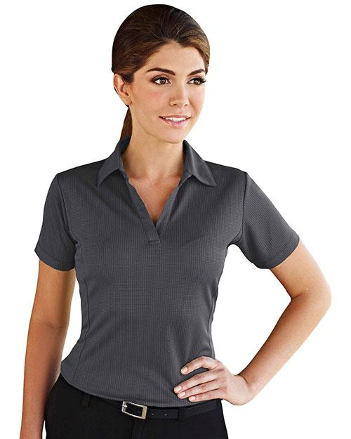 Tri-Mountain 401 Women 100% Polyester Knit Polo Shirt, W/ Grid Pattern And Princess Seam Charcoal at bigntallapparel