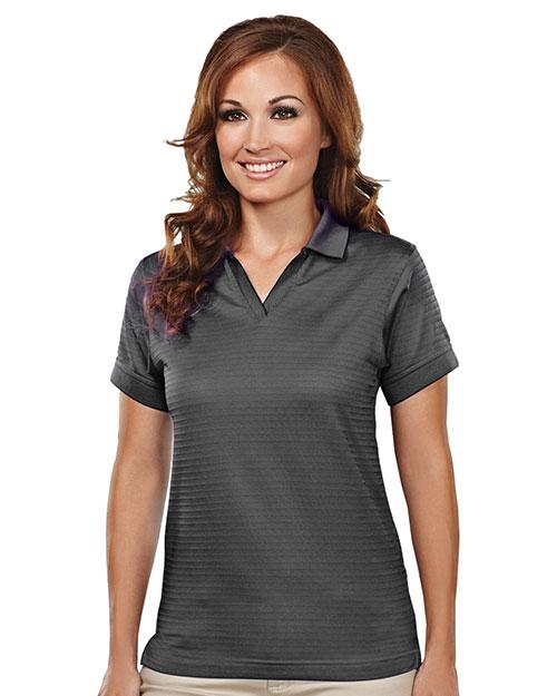 Tri-Mountain 402 Women Poly Ultracool Basket Knit Johnny Collar Golf Shirt Charcoal at bigntallapparel