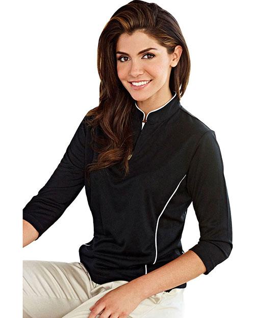 Tri-Mountain 403 Women Poly Ultracool Jaquard Knit 3/4 Sleeve Pullover Shirt Black/White at bigntallapparel