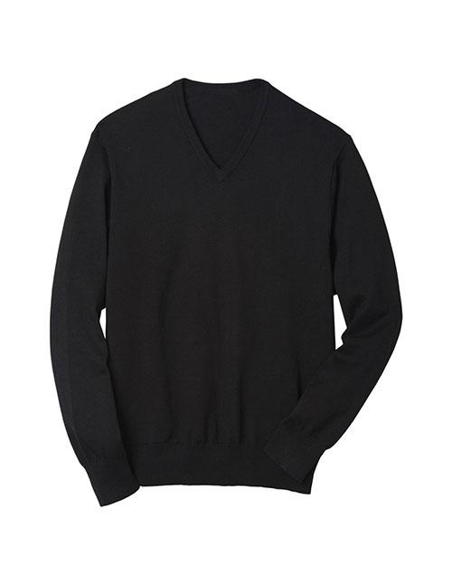 Edwards 4070 Men V-Neck  Fine Gauge Long Sleeve Pullover Black at bigntallapparel