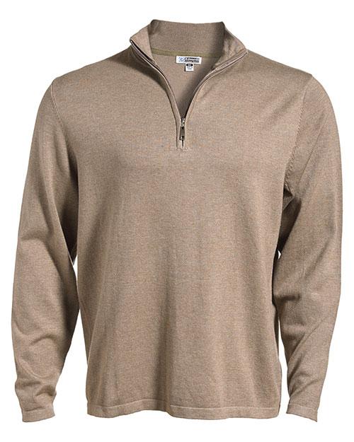 Edwards 4072 Men  1/4 Zip Fine Gauge Sweater Mocha Heather at bigntallapparel