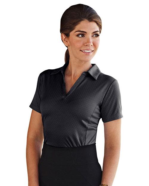 Tri-Mountain 413 Women 100% Polyester Knit Polo Shirt, W/ Yarn-Dye Plaid & Self Collar Black at bigntallapparel