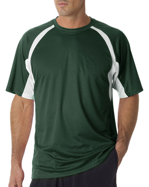 Badger 4144 Men Adult Bcore Shortsleeve Twotone Performance Hook Tee Forest/ White at bigntallapparel