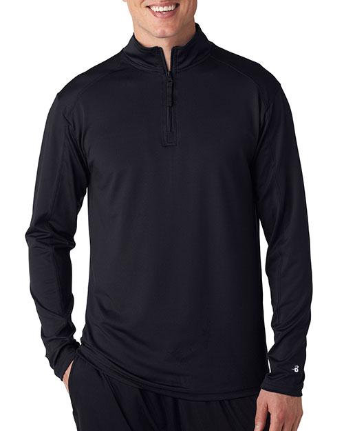 Badger 4280 Men ¼zip Lightweight Pullover Jacket Black at bigntallapparel