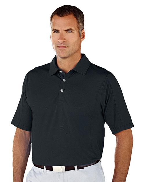 Tri-Mountain 438 Men 90% Polyester / 10% Spandex Knit Polo Shirt Black at bigntallapparel