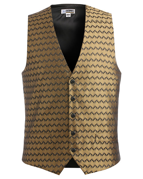 Edwards 4391 Men Swirl Brocade Vest Gold at bigntallapparel