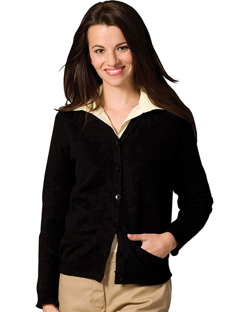 Edwards 450 Women V-Neck Pocket Cardigan Black at bigntallapparel