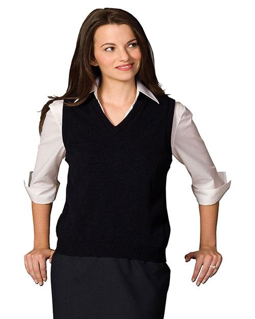 Edwards 461 Women V-Neck Jersey Vest With Tuff-Pil Plus Black at bigntallapparel