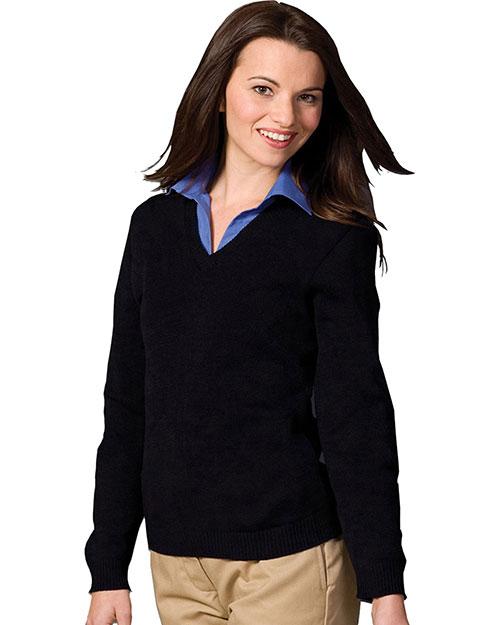 Edwards 465 Women V-Neck Sweater With Tuff-Pil Plus Black at bigntallapparel