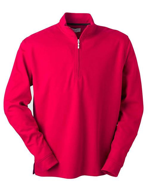 Ashworth 4747C Men Micro Brushed Half-Zip Jacket Carmine Red at bigntallapparel