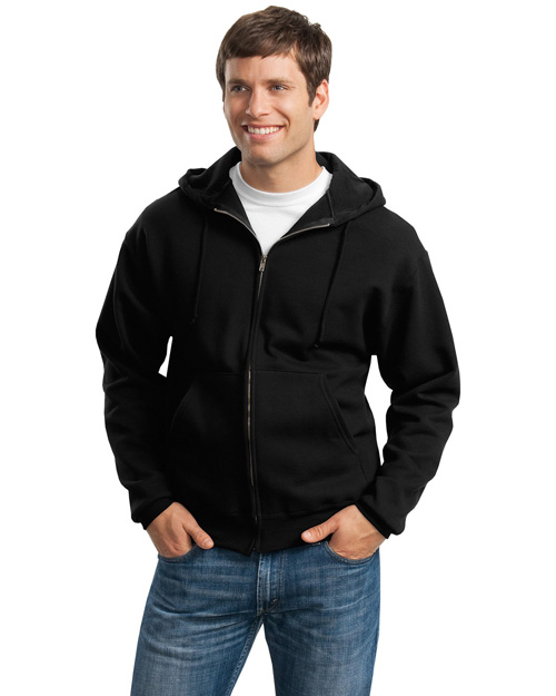 Jerzees 4999M Men Super Sweats Full Zip Hooded Sweatshirt Black at bigntallapparel