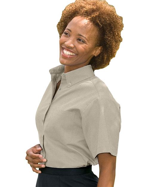 Edwards 5027 Women Short Sleeve Dress Button Down Oxford Tan at bigntallapparel