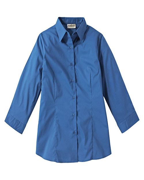 Edwards 5029 Women 3/4 Sleeve Maternity Stretch Blouse French Blue at bigntallapparel