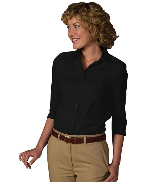 Edwards 5037 Women 3/4 Sleeve Soft Collar Poplin Blouse Black at bigntallapparel