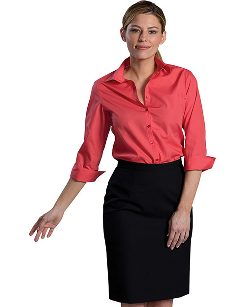 Edwards 5040 Women Open Neck Poplin 3/4 Sleeve Blouse Rose at bigntallapparel