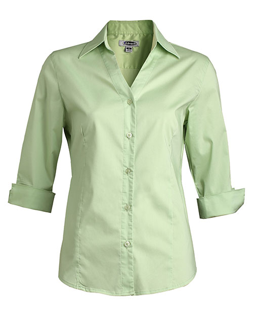Edwards 5045 Women V-Neck Tailored Stretch Broadcloth Blouse 3/4 Sleeve Cucumber at bigntallapparel